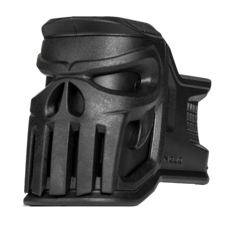 MOJO-V - Držák zásobníku kolem zásobníkové šachty AR-15 navíc s emblémem Vigilante černá
