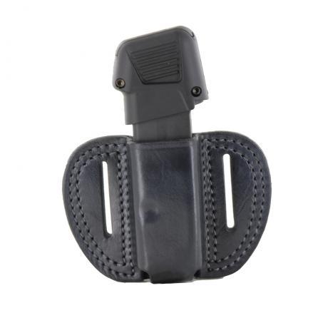 LB-MAG-G43 1ZP OUT - Vnější kožené pouzdro na 1 zásobník Glock 43 a dvěma průvleky - černé