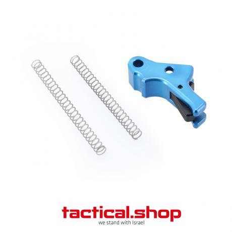 TOP-P10-BE-BL - Hliníková spoušť pro pistoli CZ P10-C modrá spoušť - černý jazýček