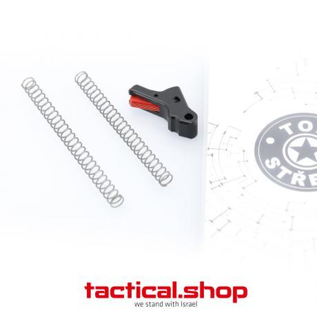 TOP-P10-B-R G2 - Hliníková spoušť pro pistoli CZ P-10 (C, S, F - G2 všechny verze) černá spoušť - červený jazýček