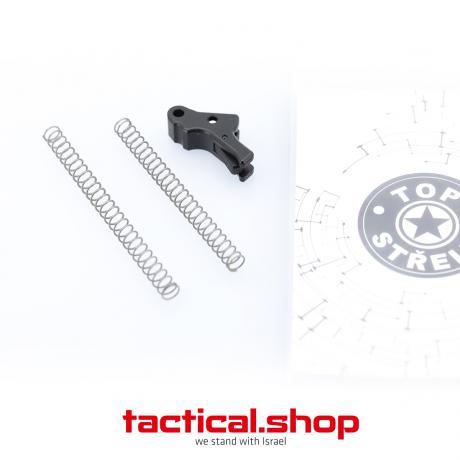 TOP-P10-B-B G2 - Hliníková spoušť pro pistoli CZ P-10 (C, S, F - G2 všechny verze) černá spoušť - černý jazýček
