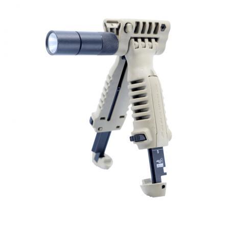 T-POD SL G1 - Přední taktická rukojeť s integrovanou dvojnožkou a svítilnou - písková